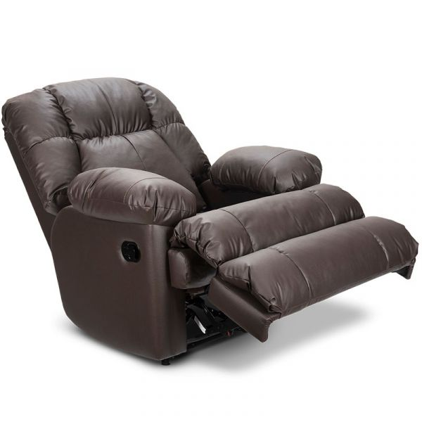 SILLON RECLINABLE REF.025 MECEDORA TELA 6-16 MARRON  ECOLEATHER